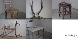 木製家具4点と鹿の頭蓋骨