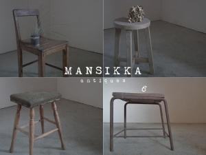 素朴な木味のアンティーク木製家具4点