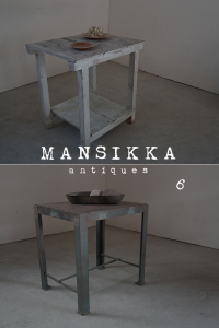 木製と鉄製のテーブル2点