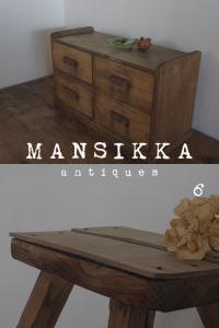 木製抽斗収納と脚立