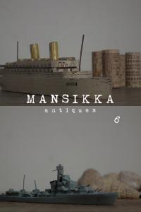 ミニチュアの豪華客船と戦艦