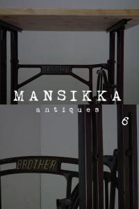 ヒノキ材のミシン脚テーブル2点