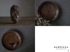 カメルーンの木製お面と木皿