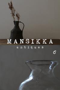 銅製ジャグとガラス花器