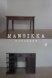 フランスと日本の木製机